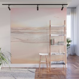 Waves And Sunset Over Golden Sand Wall Mural