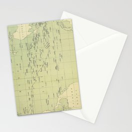 Vintage Map of The Pacific Ocean (1874) Stationery Cards