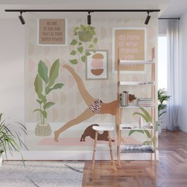 Yoga Girl Power with cat & plants Wall Mural
