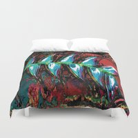 marx Duvet Covers featuring Flora Celeste Kyanite Aqua Aura Leaves by Meteora