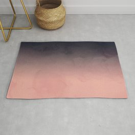 Modern abstract dark navy blue peach watercolor ombre gradient Rug