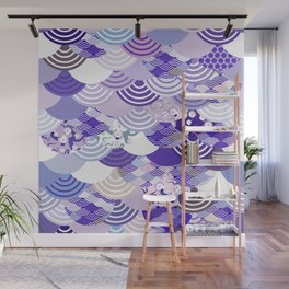 Nature background with japanese sakura flower, Cherry, wave circle. Ultra Violet Color of the Year Wall Mural