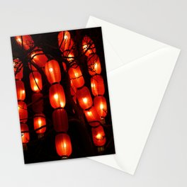 Traditional oriental chinese lanterns hanging on a tree. Abstract festive background Stationery Cards