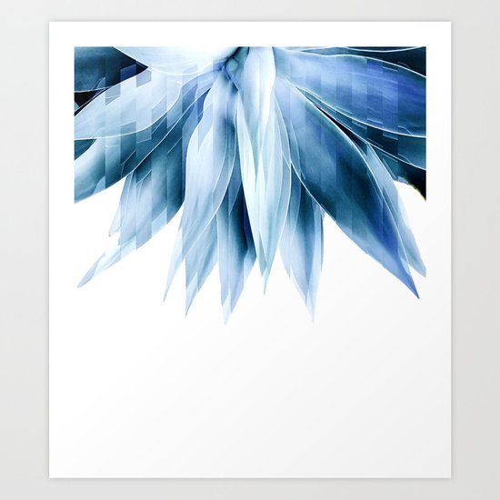 Agave geo fringe - blue Art Print