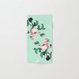 Roses Mint Green + Pink Hand & Bath Towel