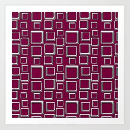 Silver Squares On Maroon Art Print