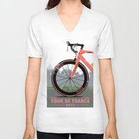brompton V-neck T-shirts featuring Tour De France Bike by Wyatt Design
