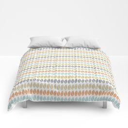 Boho Leaf Pattern in Muted Colored Stripes Comforters