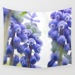 Peek-a-Blue Grape Hyacinth Wall Tapestry