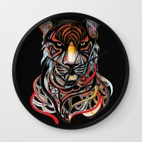 tiger Wall Clocks featuring Tiger by Felicia Atanasiu