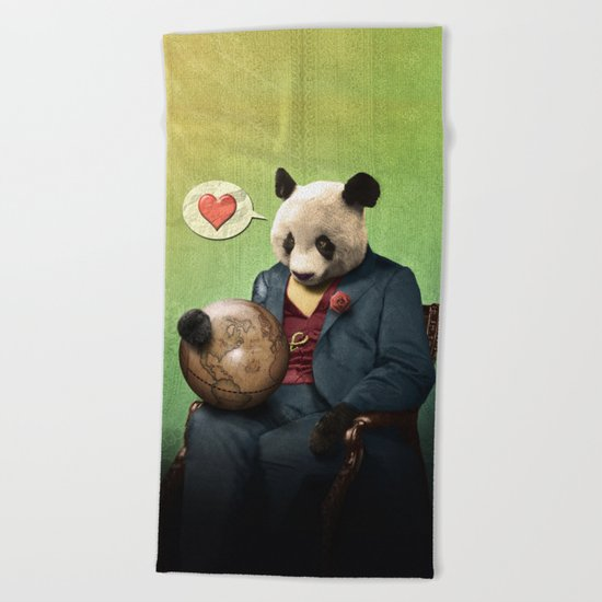 Wise Panda: Love Makes the World Go Around! Beach Towel