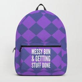 Messy Bun & Getting Stuff Done (Purple Checkered Pattern) Backpack