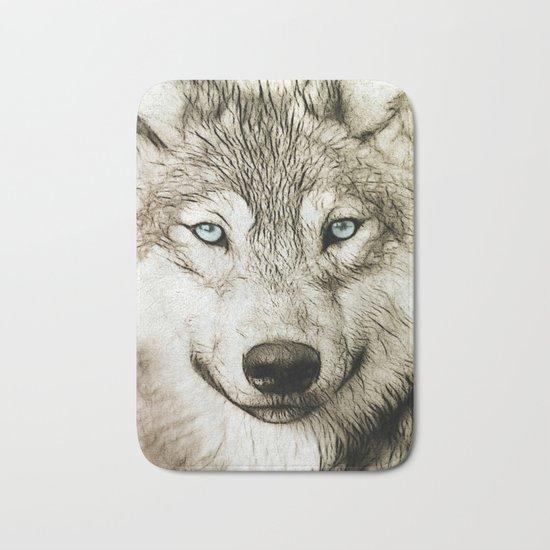 Smokey Sketched Wolf Bath Mat