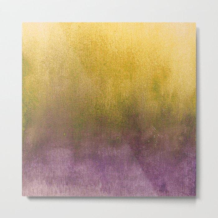 eggplant and gold watercolor Metal Print