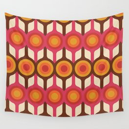 Magenta, Orange, Ivory & Brown Retro 1960s Circle Pattern Wall Tapestry