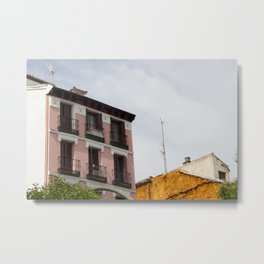 Pink House in Madrid City Metal Print