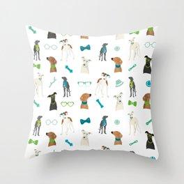 Sighthounds Pattern Green Throw Pillow
