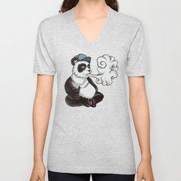Vaping Panda Bear Illustration | Animal Vape Unisex V-Neck