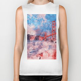 Golden Gate Bridge - Watercolor Biker Tank