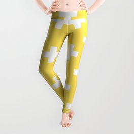 Canary Yellow Plus Sign Pattern Leggings
