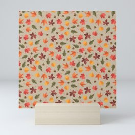 Autumn Leaves Pattern Beige Background Mini Art Print