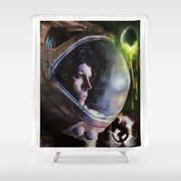 ripley Shower Curtains featuring alien ripley painting by John Mungiello