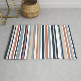 Vertical Stripes in Blues, Blush Coral, Champagne Taupe, and White Rug