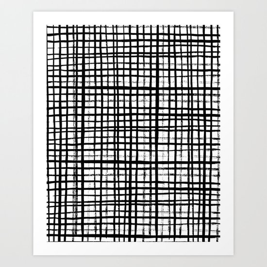 Essie - Grid, Black and White, BW, grid, square, paint, design, art Art Print by CharlotteWinter