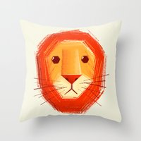 sad Throw Pillows featuring Sad lion by Lime