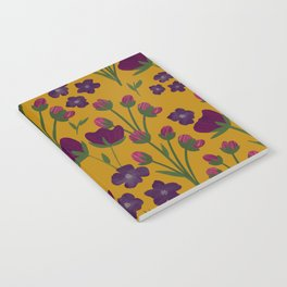 Purple and Gold Floral Seamless Illustration Notebook