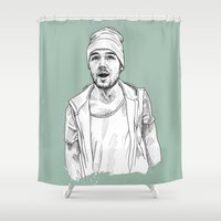 liam payne Shower Curtains featuring Liam Payne  by Cécile Pellerin