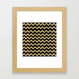 Chevron Black And Gold Framed Art Print