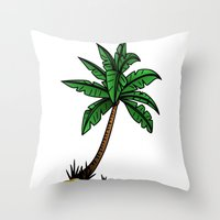 palm tree Throw Pillows featuring palm tree by Li-Bro