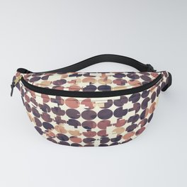 geometric square and circle pattern abstract in brown Fanny Pack