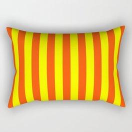 Super Bright Neon Orange and Yellow Vertical Beach Hut Stripes Rectangular Pillow