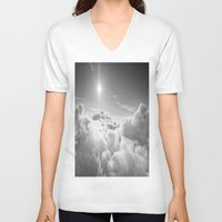 clouds V-neck T-shirts featuring Clouds Gray & White by 2sweet4words Designs