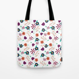 Purple Orange Blue Flower Pattern Tote Bag
