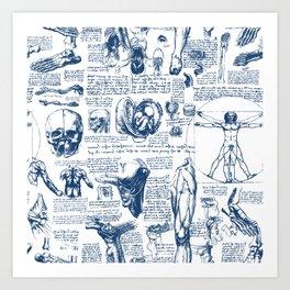 Da Vinci's Anatomy Sketchbook // Dark Blue Art Print