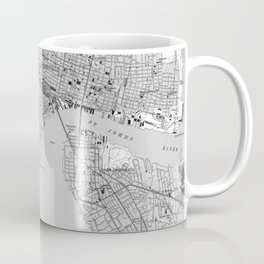 Vintage Map of Jacksonville Florida (1950) BW Coffee Mug
