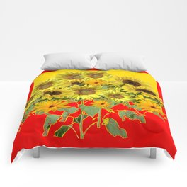 GOLDEN-RED SUNNY YELLOW SUNFLOWERS Comforters