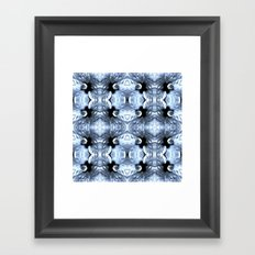 Shiny Blue Flower Design, Pattern Framed Art Print