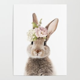 Foral Peek-a-boo Bunny Poster