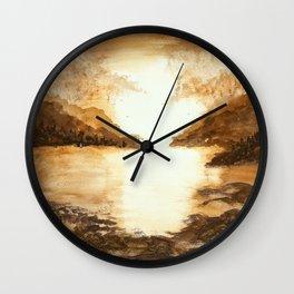 Golden Morn, Watercolor Beach Art Wall Clock