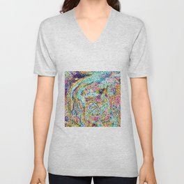 Cute Abstract Rainbow Dots Colorful Design Unisex V-Neck