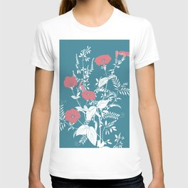 Red and emerald flowers T-shirt