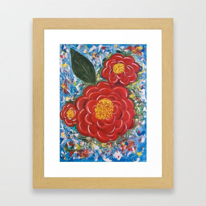 Flores Rojas Framed Art Print