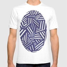 Blue and white White MEDIUM Mens Fitted Tee
