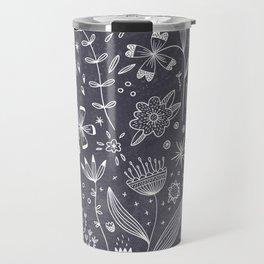 Chalkboard Flowers Travel Mug