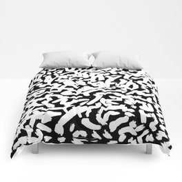 Black and White Abstract Brush Strokes Pattern Comforters