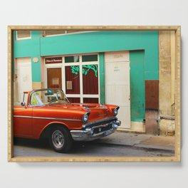 Orange Car in Havana Serving Tray